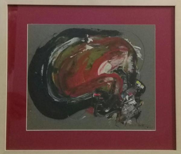 MABE (ATRIBUÍDO), óleo sobre cartão, abstrato, medindo 29 x 24 cm.
