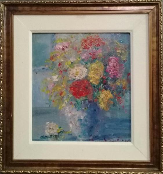 MANOEL SANTIAGO, óleo sobre placa, representando vaso com flores, medindo 17 x 17 cm.