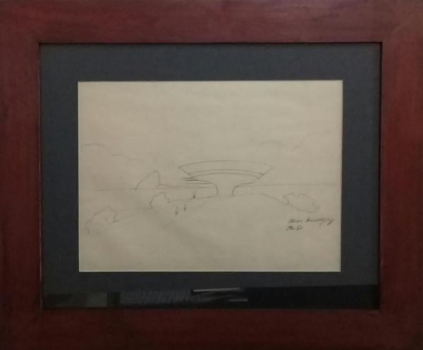 """OSCAR NIEMEYER, desenho à lápis, """"Estudo"""", medindo 30 x 20 cm."""