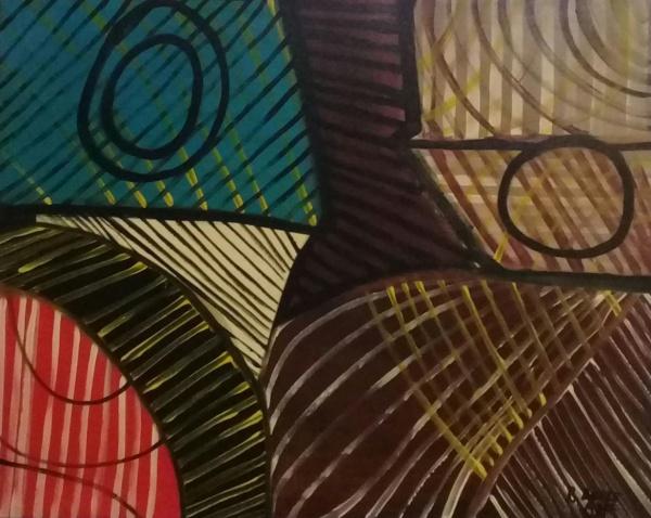 R. BURLE-MARX, óleo sobre tela, abstrato, medindo 115 x 100 cm.