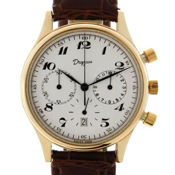 7d187890e4f Relógio Dryzun Cronógrafo - Caixa em ouro amarelo 18k 750 - Pulseira em  couro - Tamanho da caixa  35.5mm (Sem contar garras ou coroa) - Funções   Horas