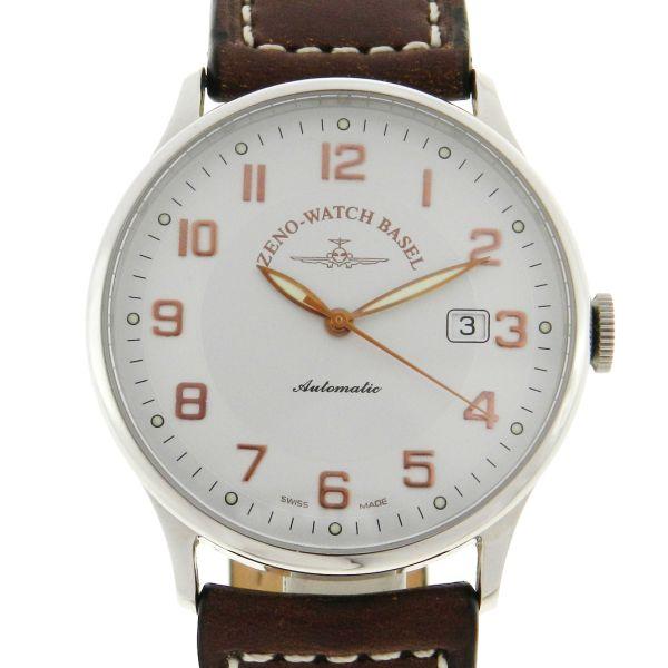 a97d20406a4 Relógio Zeno-Watch Basel - Caixa em aço e pulseira em couro - Tamanho da  caixa 40mm - Funções  Horas