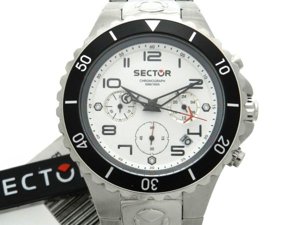 5df61d2546d Relógio Sector Cronógrafo Modelo 175 - Caixa e pulseira em aço - Tamanho da  caixa 44mm - Funções  Horas