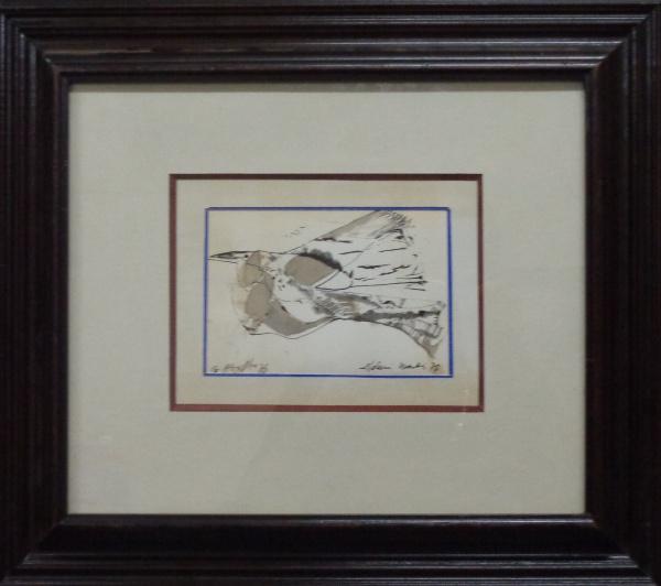 AM000, ALDEMIR MARTINS, técnica mista sobre cartão, representando pássaro, medindo 14 x 9 cm.