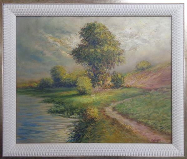 AM010, P. LICATTI, óleo sobre tela, representando paisagem, medindo 60 x 49 cm.