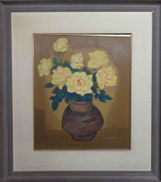 AM010, ALINA OKINAKA, óleo sobre tela, representando vaso com flores, medindo 44 x 53 cm.