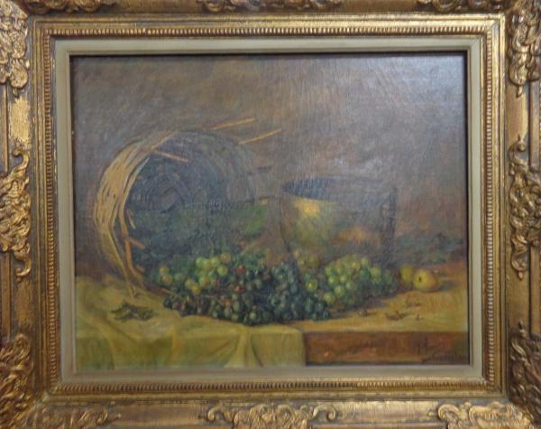 AM010, P. ANSALDI, óleo sobre tela, representando natureza morta, medindo 72 x 57 cm.