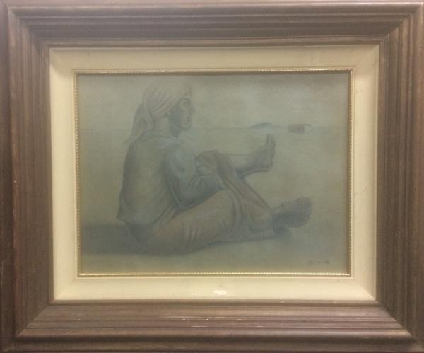AM003, GOMIDE, pastel sobre cartão, representando paisagem com figura, medindo 39 x 29 cm.