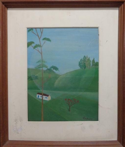 AM000, F. REBOLO, óleo sobre placa, representando paisagem, medindo 25 x 34 cm.