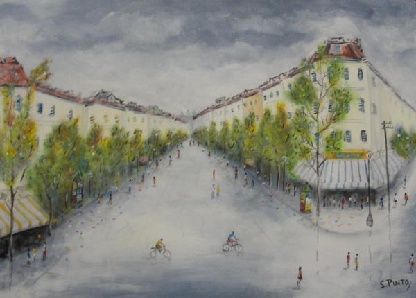 AM002, S. PINTO, óleo sobre tela, representando cena urbana, medindo 49 x 69 cm. Sem Moldura.