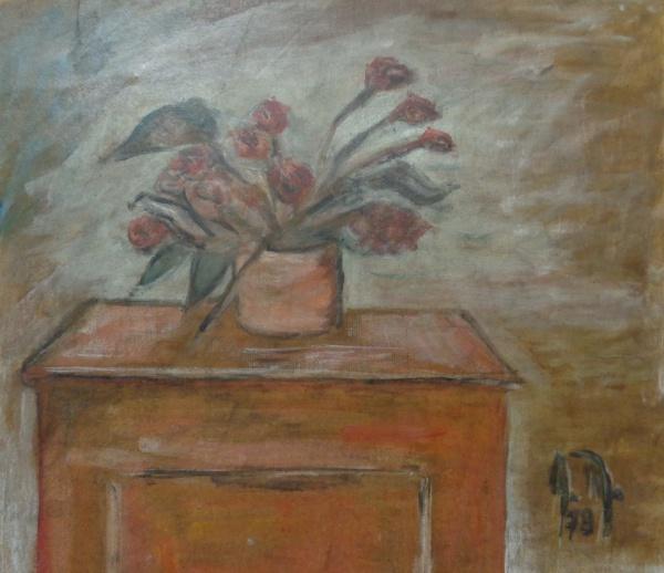 AM000, A. M., óleo sobre cartão, representando vaso com flores, medindo 35 x 32 cm. Sem moldura.