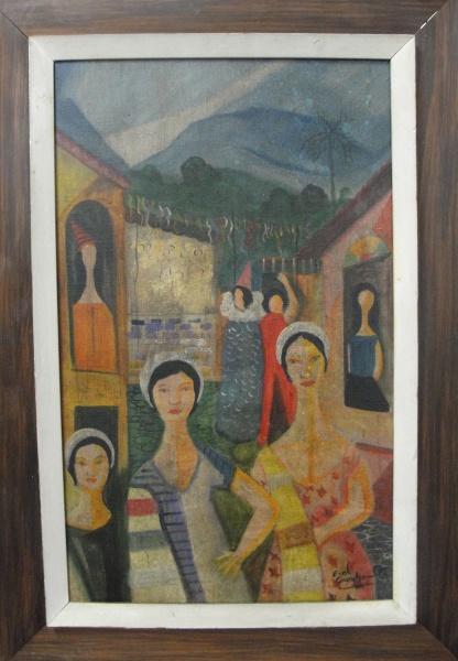 AM002, E. DI CAVALCANTI, óleo sobre tela, representando figuras, medindo 35 x 58 cm.