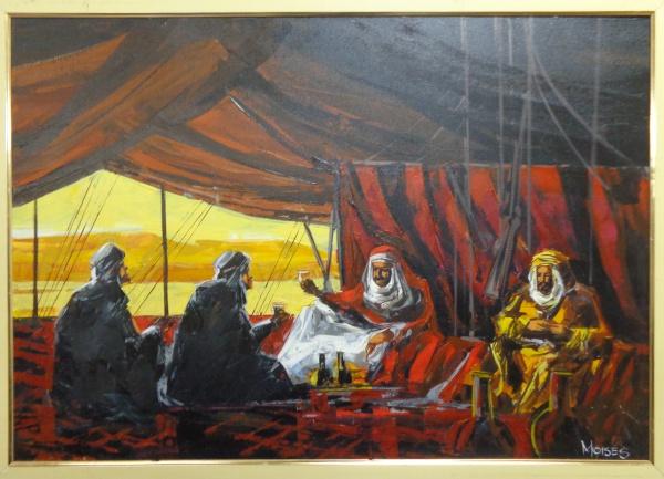 AM000, MOISÉS, óleo sobre tela, representando cena árabe, medindo 99 x 69 cm.