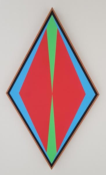 AM088, H. BARSOTTI, acrílica sobre tela colada em placa, geométrico, medindo 40 x 70 cm.