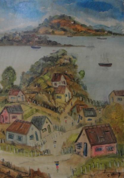 AM088, S. PINTO, óleo sobre tela, representando paisagem, medindo 80 x 120 cm. Sem moldura. Necessit