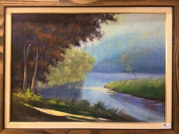 NILO SIQUEIRA, óleo sobre tela, representando paisagem, medindo 67 x 47 cm. Acompanha documentação d