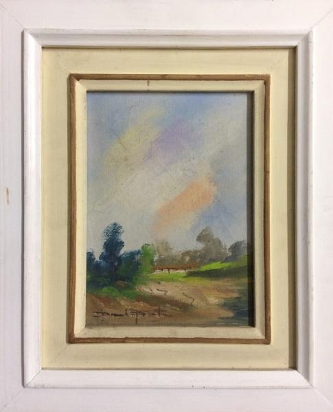 PAULO PITER, óleo sobre tela, representando paisagem, medindo 15 x 21 cm. Acompanha documentação de