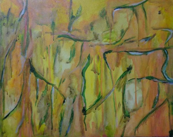 IEDA MAGALHÃES, óleo sobre tela, abstrato, medindo 50 x 40 cm. Sem moldura.