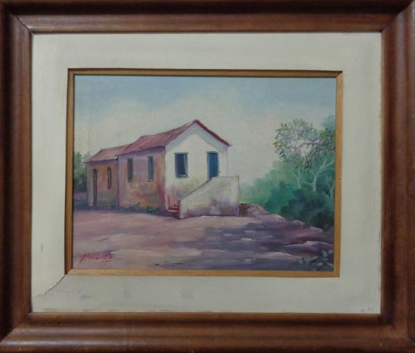 J. VERÍSSIMO, óleo sobre tela, representando paisagem, medindo 39 x 29 cm.