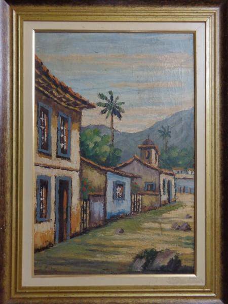 ASSINATURA ILEGÍVEL, óleo sobre tela, representando casario, medindo 39 x 59 cm.