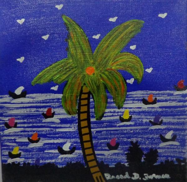 DAVID DANIEL FORNER, óleo sobre tela, representando paisagem, medindo 15 x 15 cm. Sem moldura.