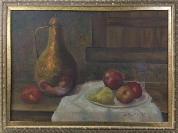 LUTHERO LOPES, óleo sobre tela, representando natureza morta, medindo 68 x 48 cm.