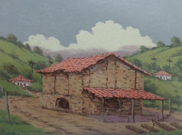 """JOEL FIRMINO DO AMARAL, óleo sobre tela colada em placa, """"Grotinha - MG"""", medindo 24 x 18 cm"""