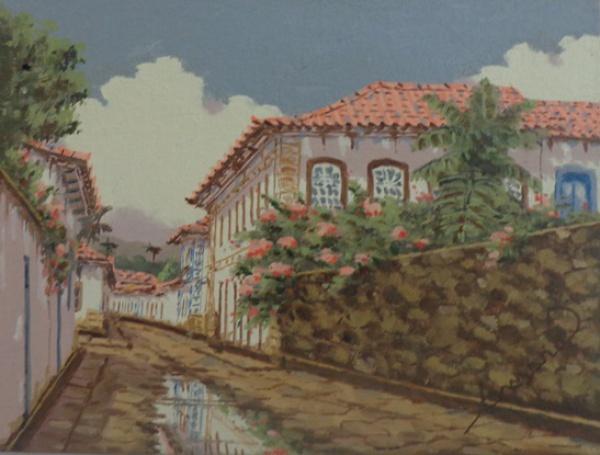 """JOEL FIRMINO DO AMARAL, óleo sobre tela colada em placa, """"Paraty - RJ"""", medindo 24 x 18 cm."""