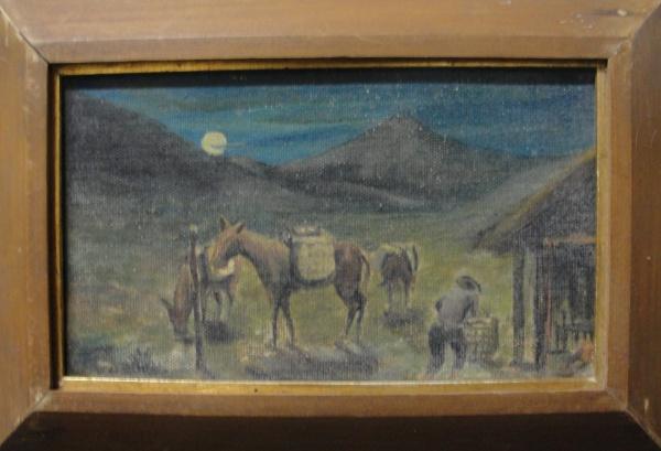 AM071, SEM ASSINATURA, óleo sobre tela colada em cartão, representando paisagem com figuras, medindo