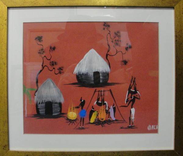 AM071, KANCA (ARTE AFRICANA), guache sobre cartão, representando paisagem com figuras, medindo 29 x