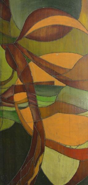 AM071, FÁTIMA NISHI, técnica mista sobre madeira, abstrato, medindo 28 x 60 cm. Sem moldura.