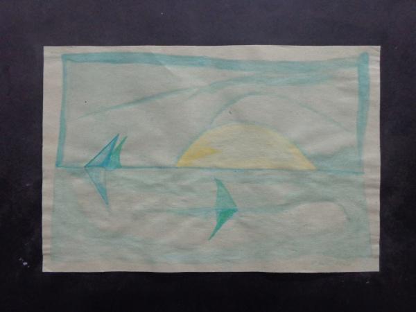 AM052, CARVÃO, aquarela, representando marinha, medindo 18 x 12 cm. Sem moldura.