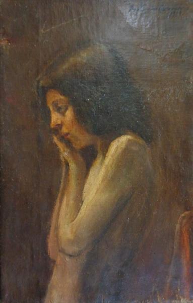 AM011, ANTONIO CARNEIRO, óleo sobre tela, representando figura feminina, medindo 18 x 28 cm. Sem mol