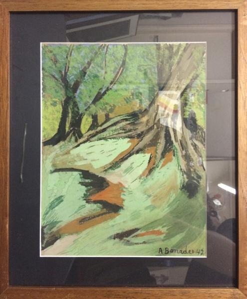 AM011, BONADEI, guache sobre cartão, representando paisagem, medindo 22 x 29 cm.