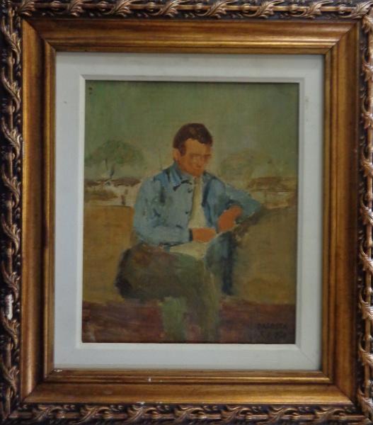 AM011, MILTON DACOSTA, óleo sobre madeira, representando figura, medindo 21 x 26 cm.