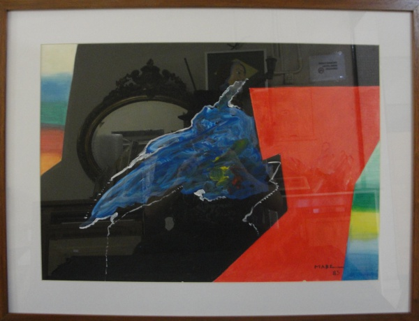 AM002, MABE (ATRIBUÍDO), guache sobre cartão, abstrato, medindo 58 x 41 cm.