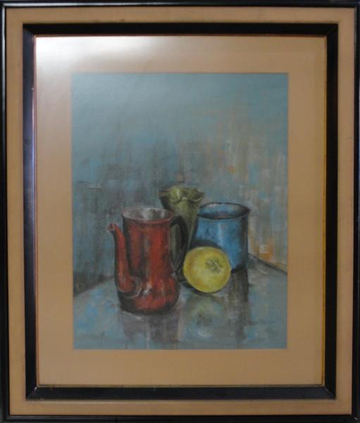AM094, SEM ASSINATURA, pastel sobre cartão, representando composição, medindo 43 x 55 cm.