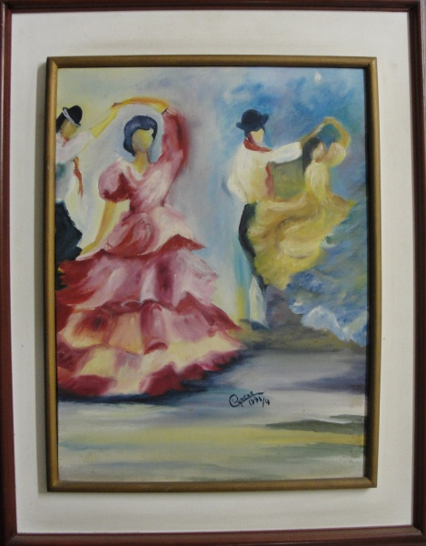 AM095, CYRENE, óleo sobre tela, representando dançarinos, medindo 30 x 40 cm.