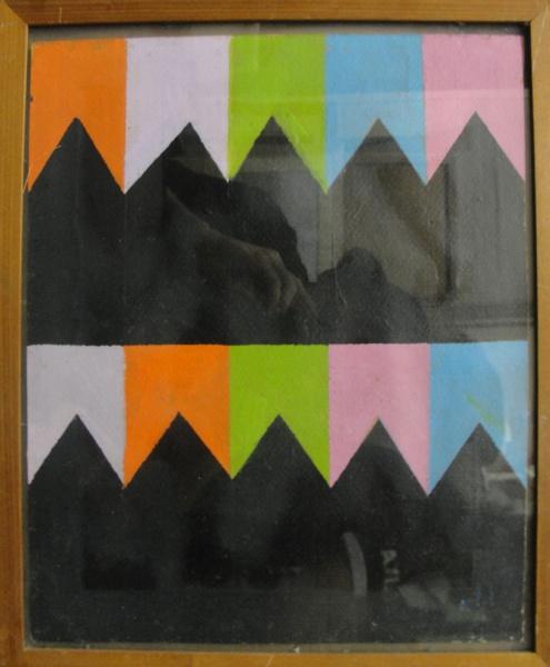 AM033, A. VOLPI (ATRIBUÍDO), têmpera sobre cartão, representando bandeirinhas, medindo 30 x 36 cm.