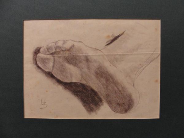 """AM092, H. BERNARDELLI, pastel sobre cartão, """"Estudo"""", medindo 18 x 20 cm. Sem moldura."""