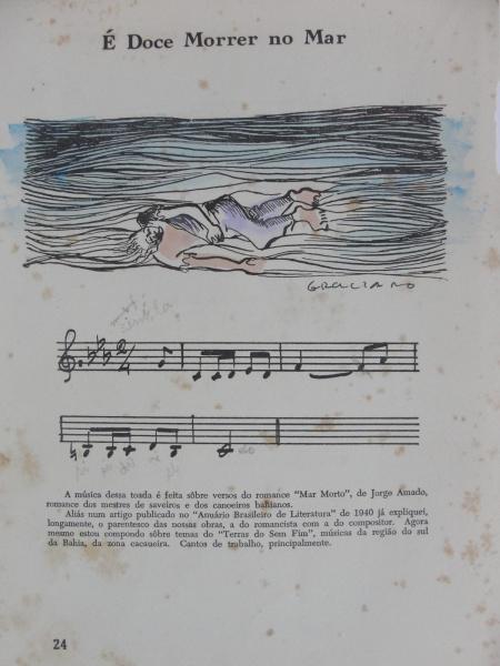 """AM000, GRACIANO, reprodução aquarelada, """"É Doce Morrer No Mar"""", medindo 17 x 23 cm. Sem mold"""