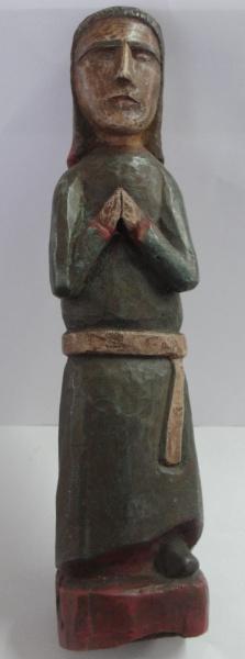 AM000, NATALIA OURAES (ARTE POPULAR), escultura em madeira policromada, representando santa, medindo