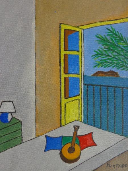 AM000, CARLOS FURTADO, acrílica sobre tela, representando interior com objetos, medindo 18 x 24 cm.