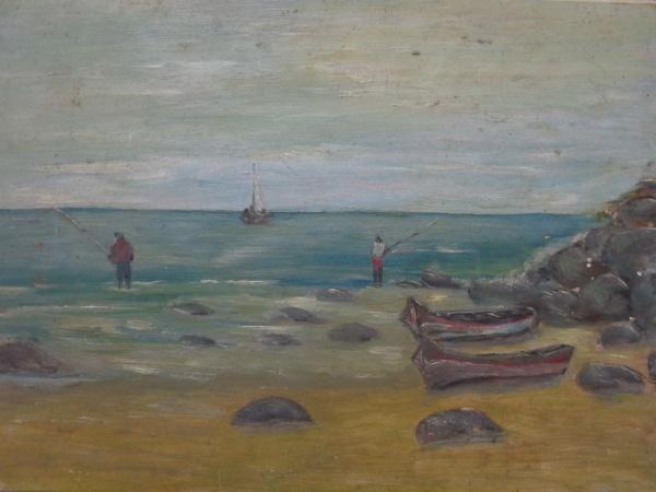 AM000, SEM ASSINATURA, óleo sobre placa, representando marinha com figuras, medindo 34 x 25 cm. Sem