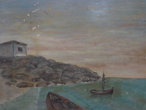 AM000, SEM ASSINATURA, óleo sobre placa, representando marinha, medindo 35 x 27 cm. Sem moldura.