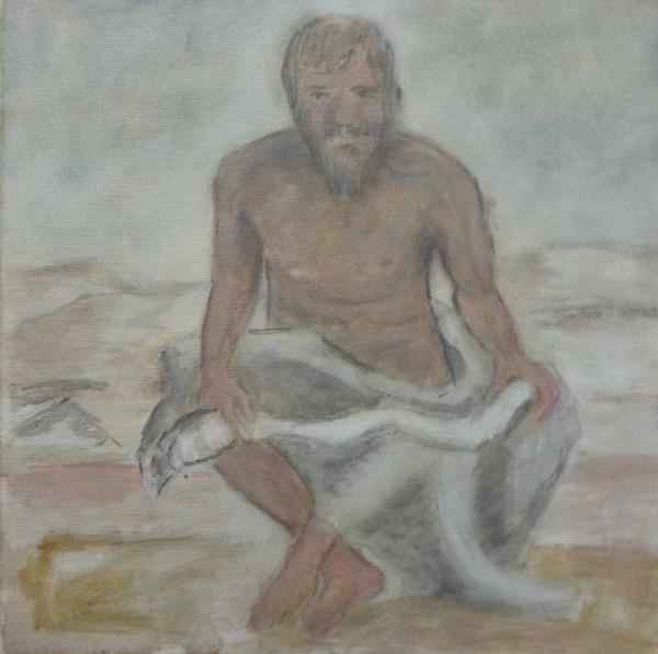 AM000, SEM ASSINATURA, óleo sobre tela, representando pescador, medindo 30 x 30 cm. Sem moldura.
