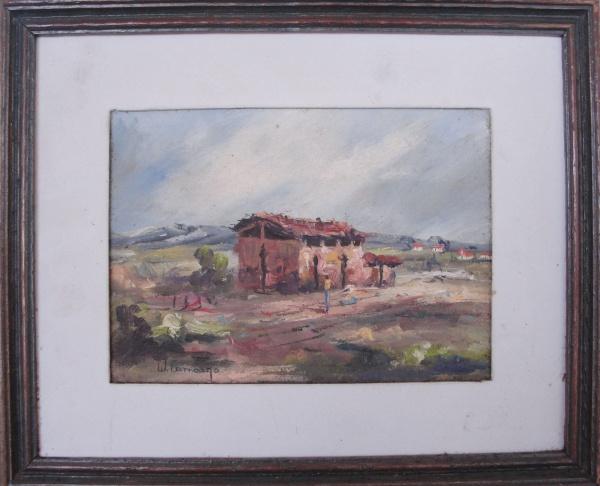 AM000, W. CAMARGO, óleo sobre tela, representando paisagem com figura, medindo 21 x 15 cm.