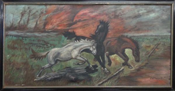 AM000, L. A. CHAGAS, óleo sobre tela, representando cavalos, medindo 119 x 59 cm. Necessita pequeno
