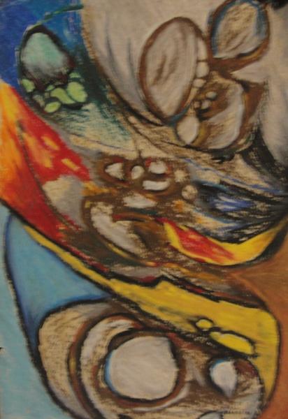 AM001, BANDEIRA, técnica mista sobre cartão, abstrato, medindo 33 x 47 cm. Sem moldura. Necessita re