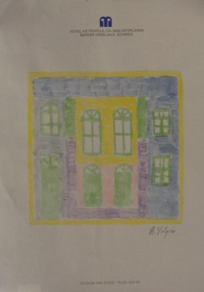 AM001, A. VOLPI, têmpera sobre papel, representando fachada, medindo 21 x 30 cm. Sem moldura.